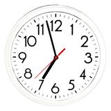 Black wall clock. Isolated on white background. Royalty Free Stock Images