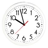 Black wall clock. Isolated on white background. Royalty Free Stock Photos