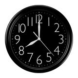 Black wall clock. Picture with isolated black wall clock Royalty Free Stock Photo
