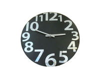 Black Wall Clock isolated Stock Images