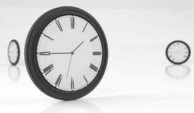 Black Wall Clocks On White Background. 3D Rendering Of Black Wall Clocks On White Background Royalty Free Stock Images