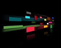 Black wall with colored rectangles. Black wall and colored rectangles Royalty Free Stock Photo