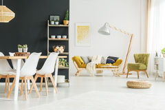Black wall in dining room Stock Photo