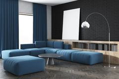Black wall living room, blue sofa, poster, side. Black wall living room corner with a blue sofa, a large window, bookshelves and a framed vertical poster. 3d Royalty Free Stock Photos
