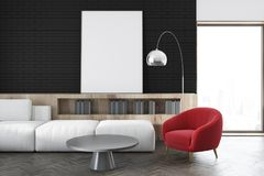 Black wall living room, white sofa, poster close up royalty free illustration