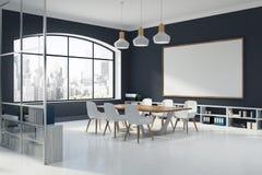 Black wall meeting room interior, corner Royalty Free Stock Images