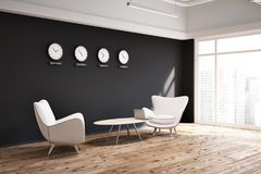 Free Black Wall Office Lobby With Clocks Side View Stock Image - 116971191