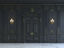 Black wall panels in classical style with gilding. 3d rendering Stock Photos