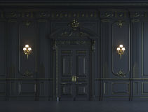 Black wall panels in classical style with gilding. 3d rendering Royalty Free Stock Photo