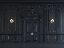 Black wall panels in classical style with silvering. 3d rendering Royalty Free Stock Images