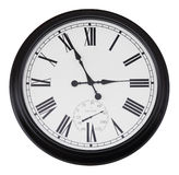 Black wall vintage clock isolated. On white Stock Images