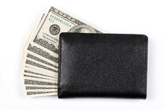 Black wallet with American dollars Stock Photo