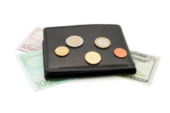 Black wallet, banknotes and coins isolated Royalty Free Stock Images