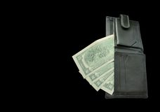 Black Wallet with banknotes two dollars Stock Photos