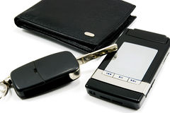Black wallet car key mobile phone 2 Royalty Free Stock Photo