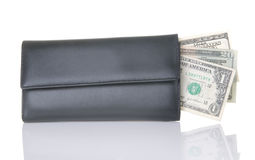 Black Wallet With Cash To Spend Royalty Free Stock Photography