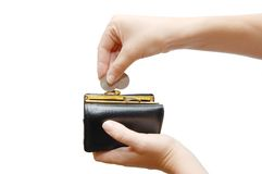 Black wallet and coin Royalty Free Stock Photos