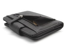 Black wallet with coins Royalty Free Stock Photography