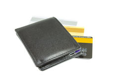 Black wallet and credit cards Stock Image