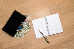 Black Wallet with credit cards and dollar banknotes Stock Image