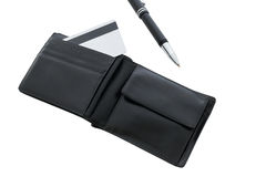 Black wallet with credit cards on a white background Stock Photo