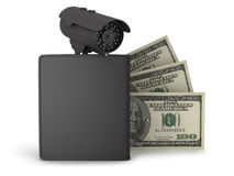 Black wallet, dollar bills and videosurveillance camera Stock Images