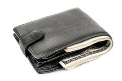 Black wallet, dollars. Black wallet with hundreds dollars on white background Stock Photo