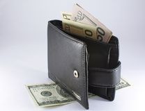 Black wallet with dollars Royalty Free Stock Photography