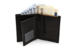 Black wallet with euro currency Stock Photo
