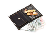 Black wallet with euro money Royalty Free Stock Images