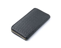 Black wallet leather on white background Royalty Free Stock Images