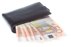 Black wallet with money Stock Image