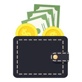 Black Wallet with Money Flat Icon Isolated Royalty Free Stock Photos