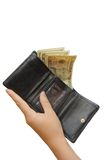 Black wallet with money and hand Stock Photography