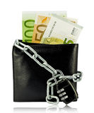 Black wallet with money tied with chain and padlock. On white background Stock Image