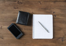 Black  wallet, and office supplies Stock Images