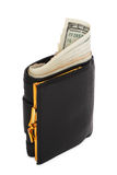 Black wallet with the pack of dollars. Royalty Free Stock Image