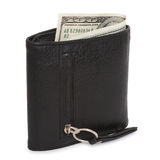 Black wallet with the pack of dollars Royalty Free Stock Images