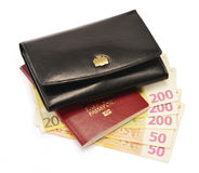 Black wallet, passport and Euro banknotes Royalty Free Stock Images