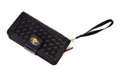 Black wallet purse. On white background Stock Photos
