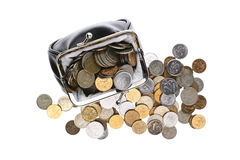 Black wallet with russian coins Royalty Free Stock Images