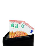 Black wallet with ten euro inside Royalty Free Stock Images