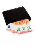 Black wallet with ten euro inside Royalty Free Stock Photos