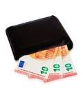 Black wallet with ten euro inside Royalty Free Stock Photos