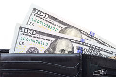 Black wallet with US dollars Stock Photography