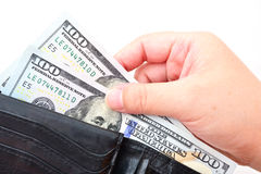 Black wallet with US dollars Stock Photo