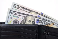 Black wallet with US dollars Stock Photos
