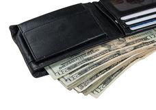 Black wallet with usa dollars Royalty Free Stock Image