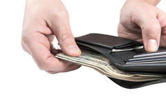 Black wallet with usa dollars Royalty Free Stock Photo