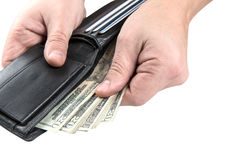 Black wallet with usa dollars Stock Photography